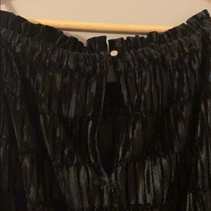 Maurices Tops - Black Crushed Velvet High Neck Tank Top